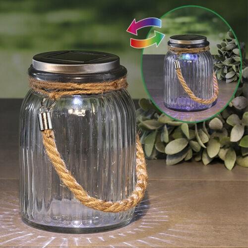 """Solar-Glas """"COLORADO"""" mit Farbwechsel und Weiß (11cm Durchmesser, 16cm hoch) Dekoglas mit Band"""