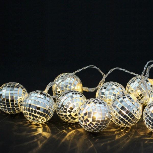 Discokugel Lichterkette - 10 kleine Spiegelkugel für Deine Party - Batteriebetrieb