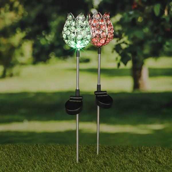 "LED Solarstab ""Kristallblume"" - farbwechselnde LED - H: 65cm - 2er Set"