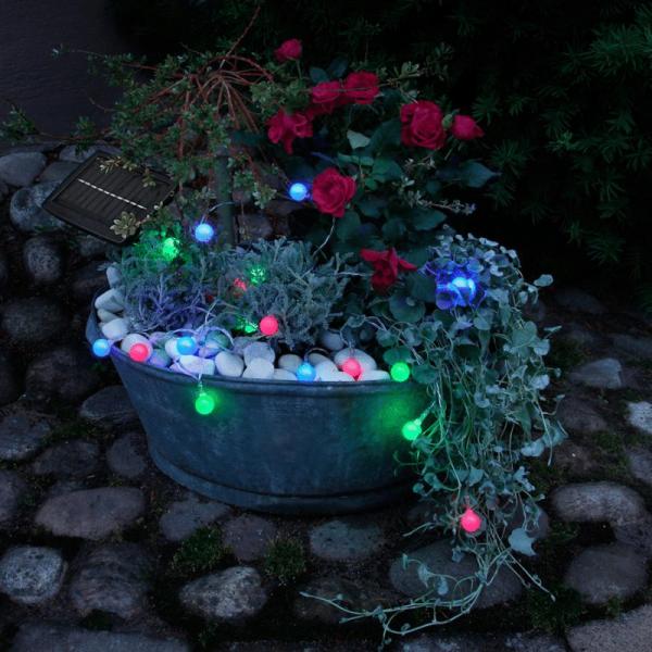 "LED SoLED Solarlichterkette ""Globini"" - 20 blau/grün/pinke LED - L: 4,75m - Dämmerungssensor - outdoor"