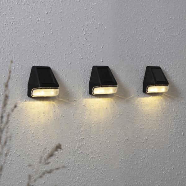 "LED Solar Wandleuchte ""Wally Mini"" - Kunststoff - warmweiße LED - H: 7,5cm - Lichtsensor - 3er Set"