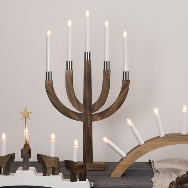 """Kerzenleuchter """"Elias"""" - 5 Arme - warmweiße Glühlampen - H: 67cm, L: 35cm - Schalter - Braun/Messing"""