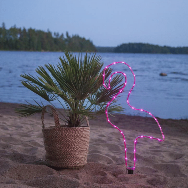 LED-Mini-Lichtschlauch 5m pink Flamingo- outdoor - 38 LEDs - Batteriebox - Timer
