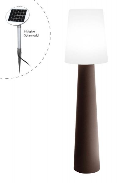 """Outdoor XL Stehlampe No. 1 """"Braun"""" H:160cm - Solar LED warmweiß - Außenleuchte IP44"""