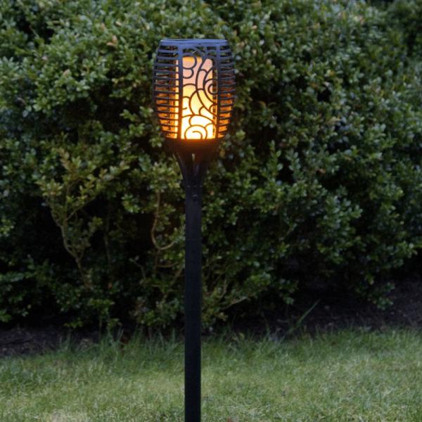 LED Solar Fackel Flame - LED mit bewegtem Feuereffekt - H: 57cm - Lichtsensor - inkl. Wandmontage