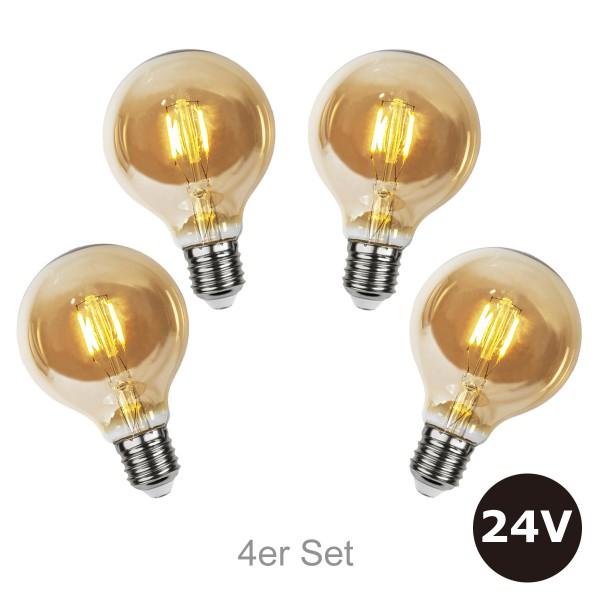 4er Set - 24V Leuchtmittel - 8cm - amber - 28lm - 2500K - E27 Sockel - Niedervoltleuchtmittel