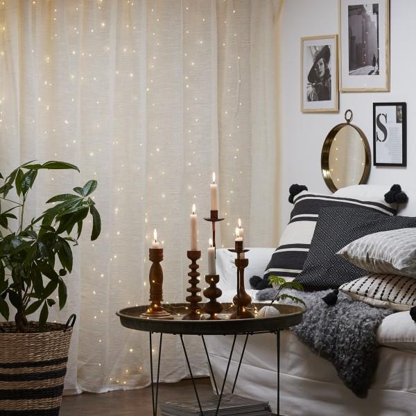 "LED Lichtervorhang ""Dew Drop"" - 200 warmweiße LED - 1x2m - 10x silberner Draht - Trafo"