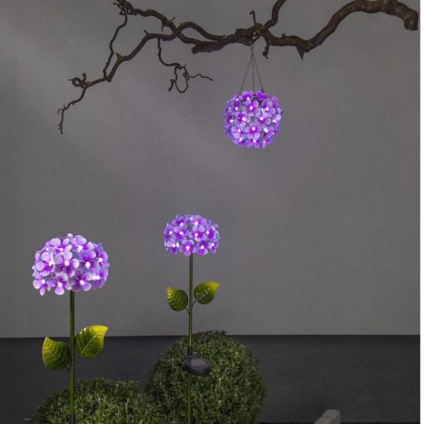 """LED Solar Hängedeko """"Hortensie"""" - mit Aufhänger - 44 kaltweiße LED - D: 16cm - Lichtsensor - pink"""