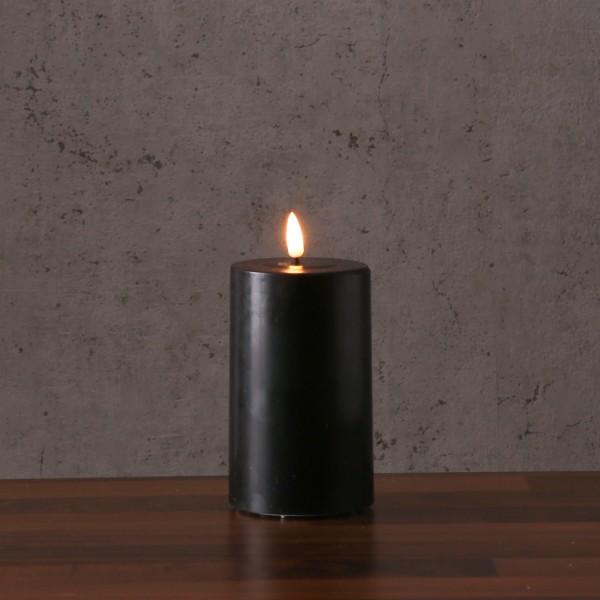 LED Stumpenkerze MIA - Echtwachs - realistische 3D Flamme - H: 15cm - Batteriebetrieb - schwarz