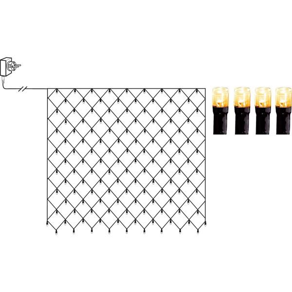 LED Lichternetz - Serie LED - outdoor - 160 ultra warmweiße LED - 2.00m x 2.00m - schwarzes Kabel