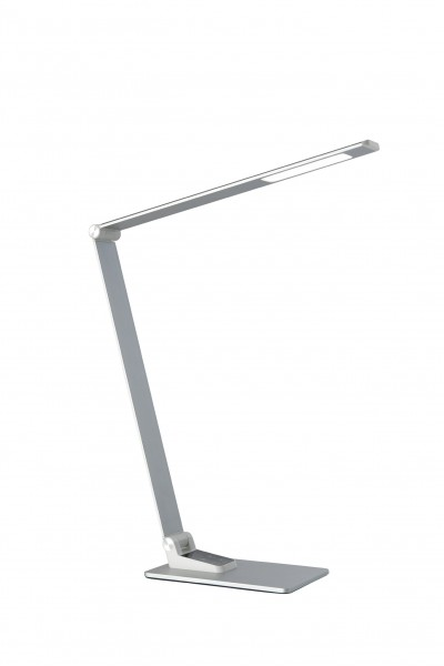 Tischleuchte ROLF - LED - 3 Lichtfarben wählbar - 560lm - USB Ladebuchse - dimmbar - silber satin