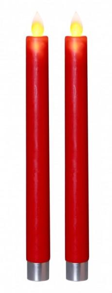 LED Stabkerze Glim - Echtwachs - gelbe flackernde LED - H: 24cm - Timer - rot - 2er Set