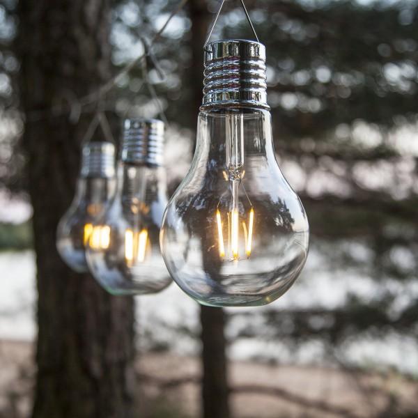 LED Solar XL Glühbirne - warmweißes Filament - H: 18cm - Dämmerungssensor - outdoor - 5 Stück