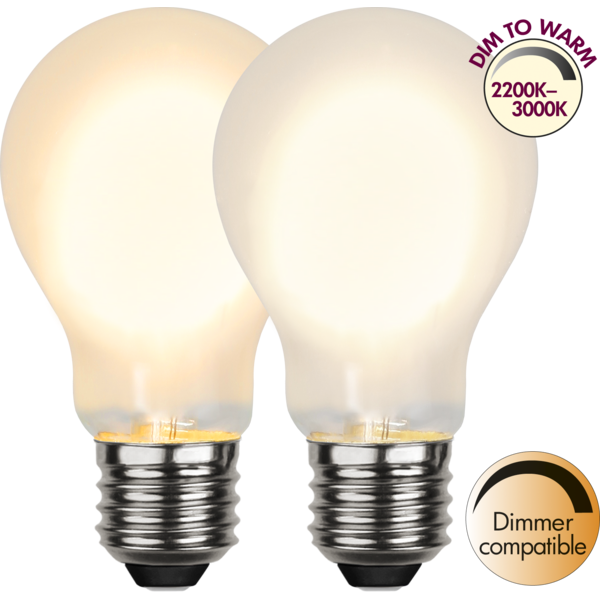 LED Tropfenlampe FILA A60 - E27 - 4W - DTW 3000-2000 - 280lm - frost - dimmbar