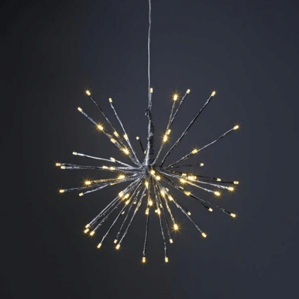 "3D-LED-Hängestern ""Firework"" - D: 40cm - silber mit 80 warmweißen LED - Programme - Outdoor"
