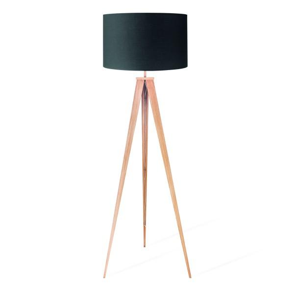 Stehlampe TREE - 160cm - Holzfuß mit schwarzem 50cm Schirm - E27 Fassung