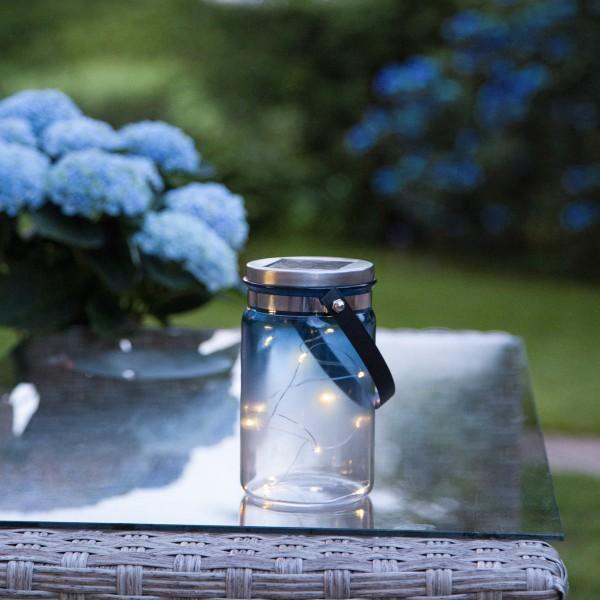 LED Solarglas Tint- LED Drahtlichterkette - Lichtsensor - H:15cm, D: 9cm - mit Aufhänger - blau