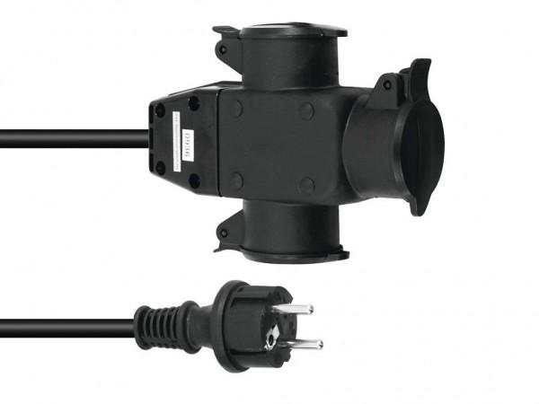 Stromkabel / Verlängerung | 3-Fach | Schutzkontakt | Outdoor| 3x1,5mm² | 5m