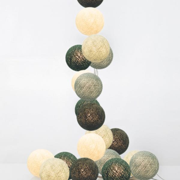 good moods* NORDLICHT 35 - Ball-Lichterkette mit 35 Stoffkugeln - 35 warmweiße LEDs - Geschenkkarton