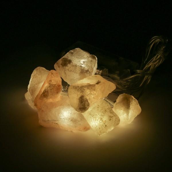 LED Lichterkette HIMALAYA - Salzstein - 8 warmweiße LED in Leuchtkristallen - Batterie - L: 1,76m
