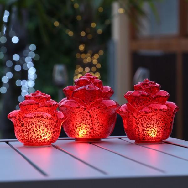 LED Dekoleuchte Rose - Timer - 3er Set - Rot