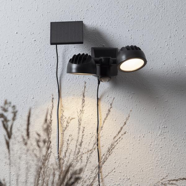 """LED Solar Strahler """"Powerspot"""" - warmweiß - 350lm - mit Bewegungsmelder und Lichtsensor - H: 17cm"""