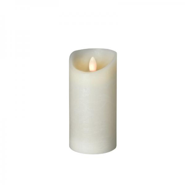 LED Wachskerze SHINE | elfenbein | gefrostet | D: 7,5cm H: 15cm | fernbedienbar | Timer