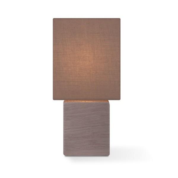 Tischleuchte mit Schirm CHARM quadratisch - braun - E14 - 30cm