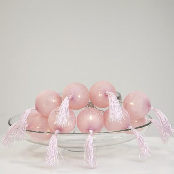 """LED Ball Lichterkette """"Tassel"""" - 10 pinke Bälle - warmweiße LED - L: 1,35m - Batterie - Timer"""