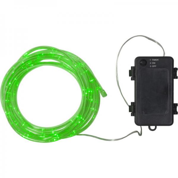 LED-Mini-Lichtschlauch 5m grün - outdoor - 50 LEDs - Batteriebox - Timer