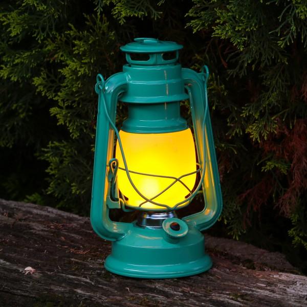 LED Sturmlaterne mit Flammeneffekt - Tragegriff - Batteriebetrieb - H: 24cm - grün