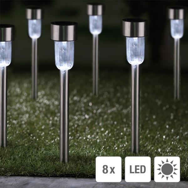 LED Solar Wegleuchte mit Erdspieß - Edelstahl - weiße LED - H: 36cm - silber - 8er Set