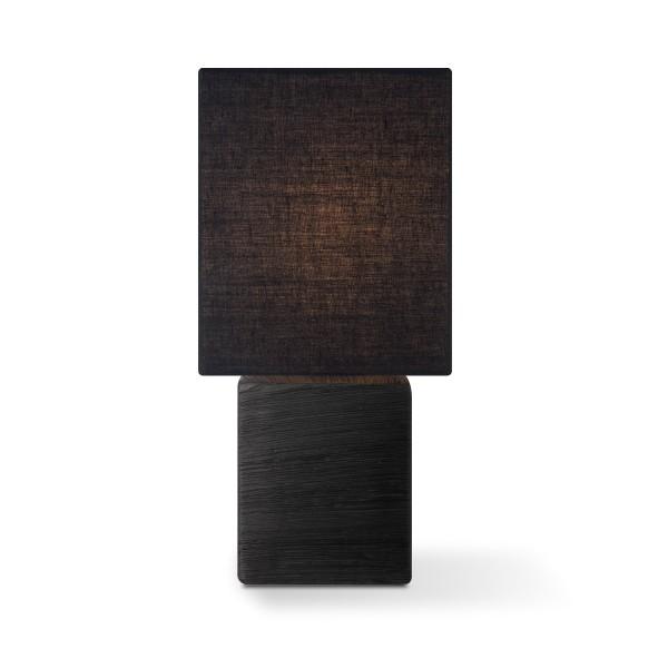 Tischleuchte mit Schirm CHARM quadratisch - schwarz - E14 - 30cm