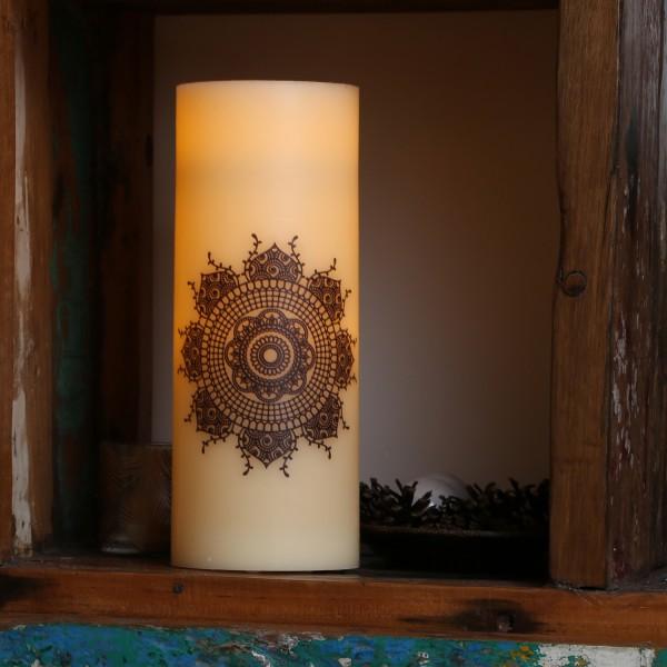 XXL LED Kerze Ornament - Echtwachs - flackernde LED - Timer - H: 30cm - D: 12cm - creme