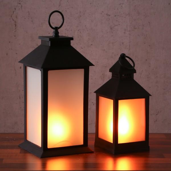 LED Laternen Set - mit Flammeneffekt - flackernde LED - Batteriebetrieb - schwarz - 2er Set