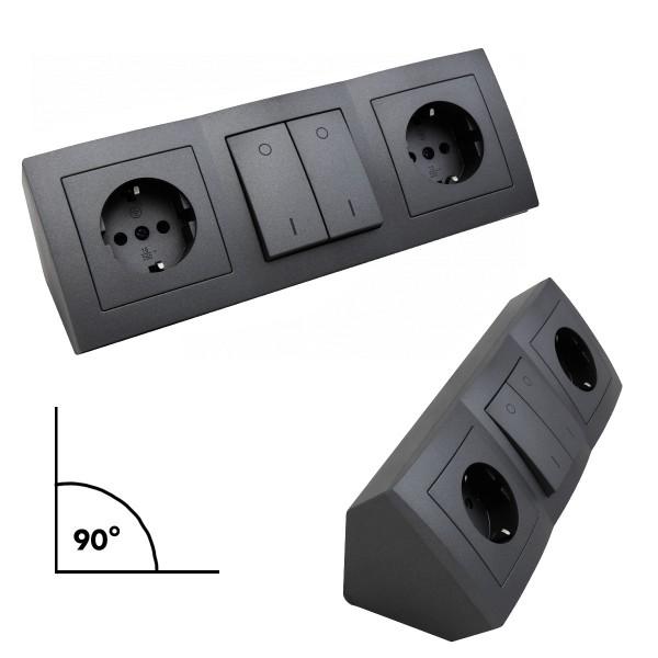 Steckdosenblock 2fach mit 2 Schaltern - schwarz - Winkelmontage - Ideal für Küche, Werkstatt & Büro