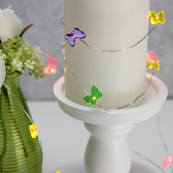 LED Drahtlichterkette Schmetterling - 20 warmweiße LED - L:1,9m - Batteriebetrieb - mehrfarbig