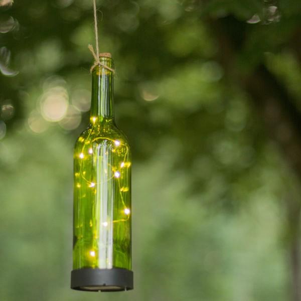 LED Solar Flaschenpost grün - 10 warmweiße LED - H: 31cm - D: 7,5cm - Dämmerungssensor