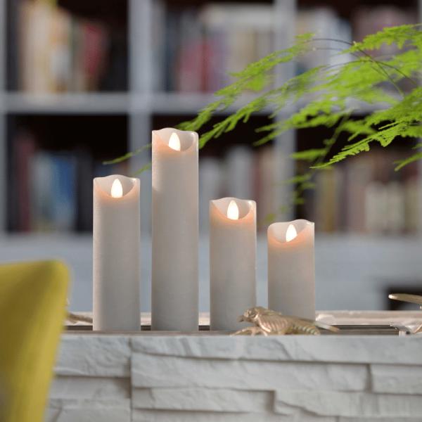 LED Wachskerze SHINE schmal | grau | gefrostet | D: 5cm H: 17,5cm | fernbedienbar | Timer
