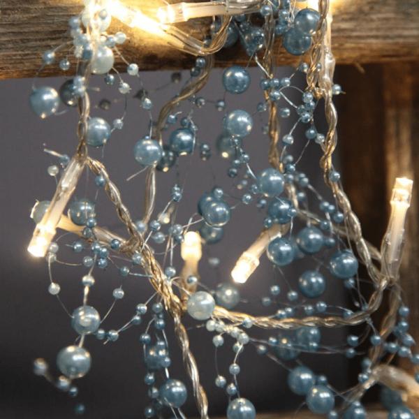 LED Lichterkette mit Perlen - 20 warmweiße LED - 1,15m - Batteriebetrieb - Timer - blau