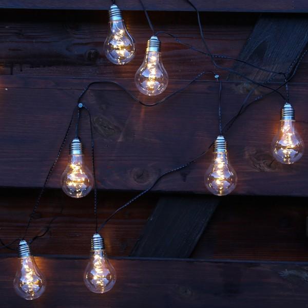 LED Solar Lichterkette GLOW - 10 transparente Glühbirnen - warmweiße LED - L: 4,5m
