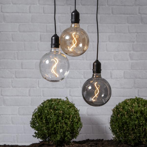 """Glaskugel/Dekoleuchte """"Bowl"""" - warmweiße Filament LED - D: 12,5cm - Batterie - Timer - transparent"""