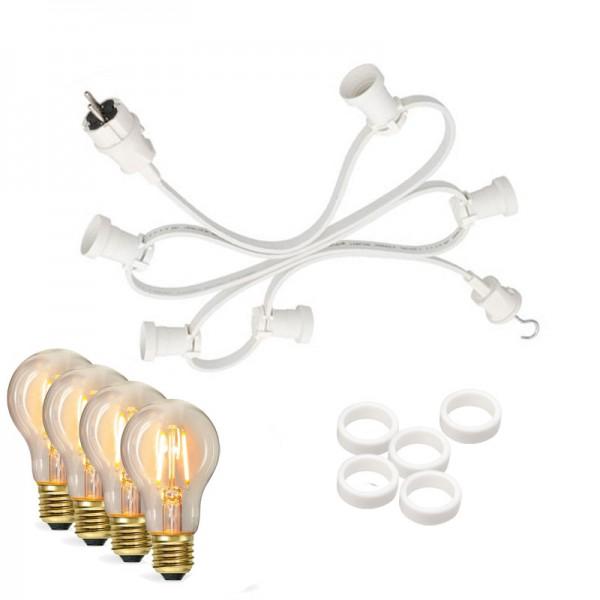 Illu-/Partylichterkette 50m | Außenlichterkette weiß, Made in Germany | 50 Edison LED Filamentlampen