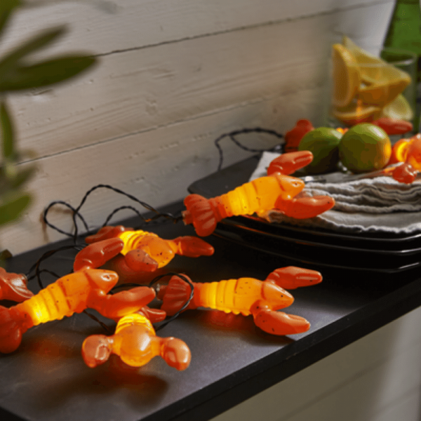 "LED Partylichterkette ""Hummer"" - 8 warmweiße LED - L: 2,1m - Batterie - Timer - orange"