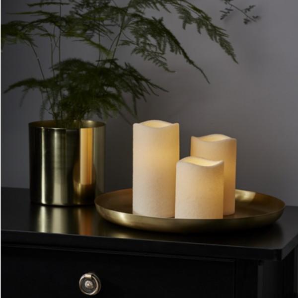 "LED Kerze ""Shine"" - Kunststoff - flackernd - Timer - Batteriebetrieb - raue Oberfläche - 3er Set"