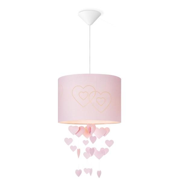Lampenschirm HERZEN - rosa - 30cm Durchmesser - mit fliegenden Herzen