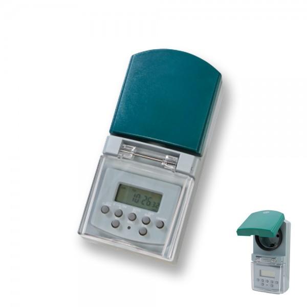 Digitale Wochen Zeitschaltuhr IP44 (20 Zyklen/Tag, max 1800W, Tages-Wochen-/Wochenendprogramm)