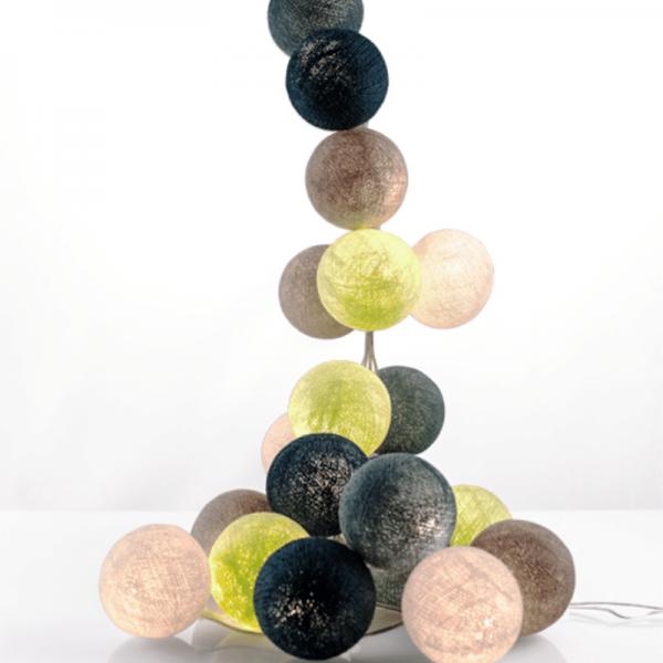 good moods* HINGUCKER - Ball-Lichterkette mit 35 Stoffkugeln - 35 warmweiße LEDs - Geschenkkarton