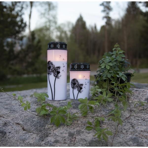 """LED Grablicht/Grabkerze """"Pusteblume"""" - warmweiße LED - H: 21cm, D: 7cm - Timer - weiß/schwarz"""