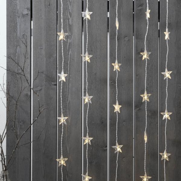 System DECOR | Stern-Vorhang | koppelbar | 2,0x0,9m | weißes Kabel | 50 warmweiße LEDs